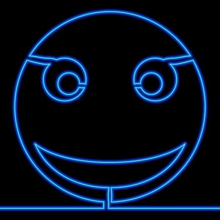Continuous one single line drawing Emoji Smile Symbol icon neon glow vector illustration concept