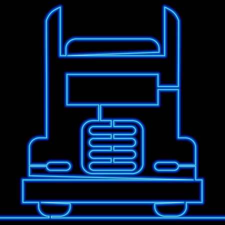 Continuous one single line drawing Logistic Truck transport services icon neon glow vector illustration concept