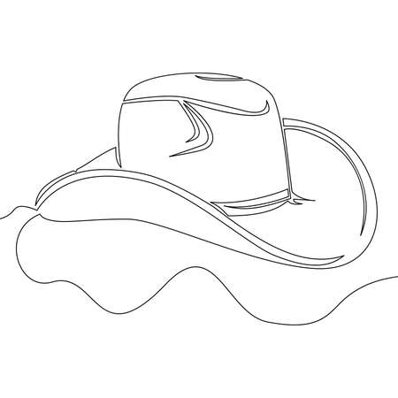 Continuous one single line drawing Cowboy Hat icon vector illustration concept