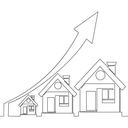Continuous one single line drawing Residential houses Graph Increases icon vector illustration concept Ilustração