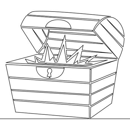 Continuous one single line drawing Open treasure chest icon vector illustration concept