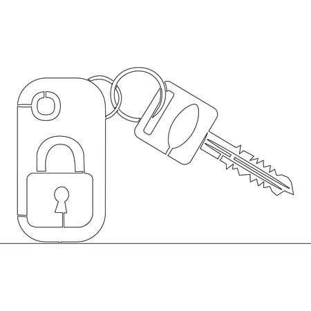 Continuous one single line drawing car keys icon vector illustration concept Imagens - 159143748