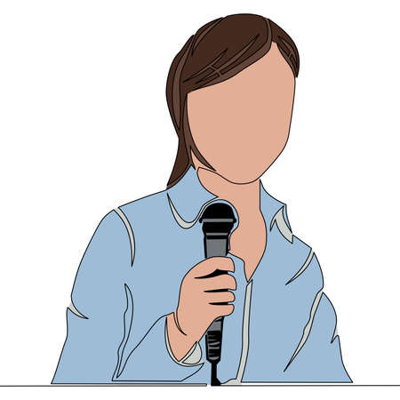 Flat colorful continuous drawing line art Journalist Woman with microphone reporter correspondent icon vector illustration concept