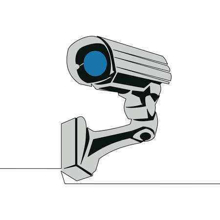 Flat colorful continuous drawing line art CCTV Video Surveillance Camera icon vector illustration concept