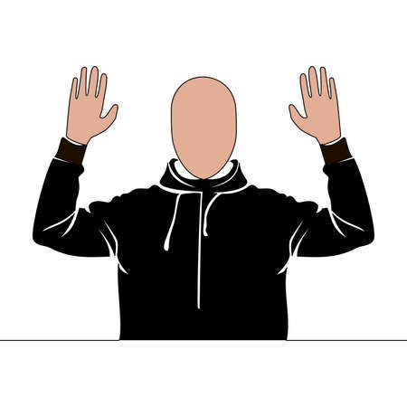 Flat colorful continuous drawing line art Thief surrendering hands up icon vector illustration concept Imagens - 159447560
