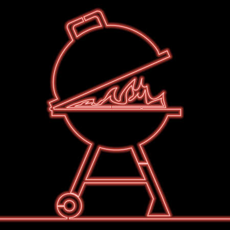 Continuous one single line drawing Kettle barbecue grill icon neon glow vector illustration concept