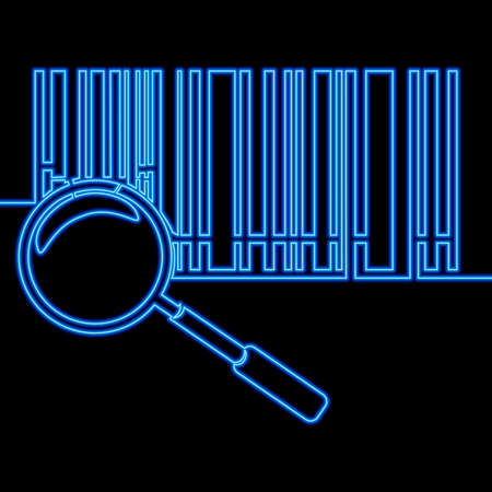 Continuous one single line drawing Bar code and zoom icon neon glow vector illustration concept