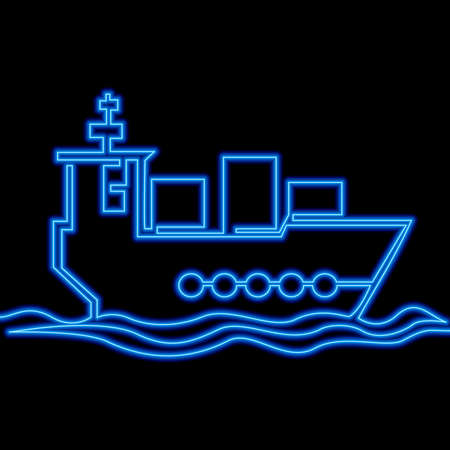 Continuous one single line drawing Cargo ship with boxes delivery service icon neon glow vector illustration concept Ilustração