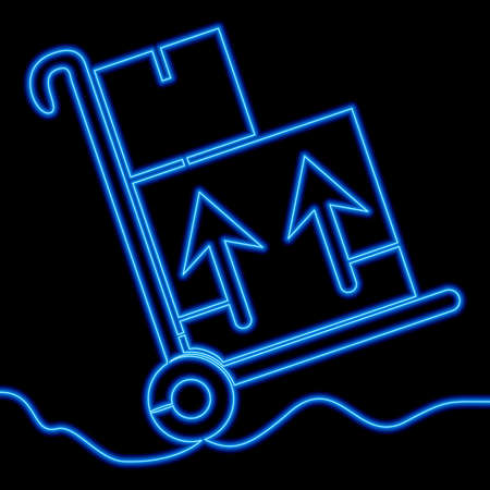 Continuous one single line drawing warehouse trolley delivery handcart box icon neon glow vector illustration concept Ilustração