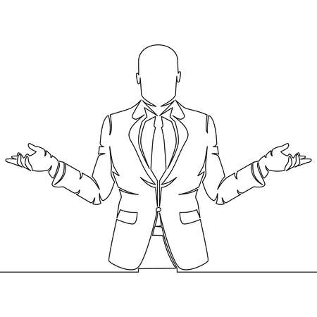 Continuous one single line drawing Manager Businessman spreads his arms icon vector illustration concept Ilustração