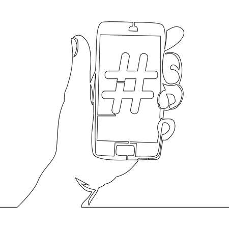 Continuous one single line drawing hand hold smartphone with Hashtag media influence icon vector illustration concept