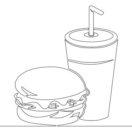 Continuous one single line drawing Burger and soda takeout fastfood icon vector illustration concept