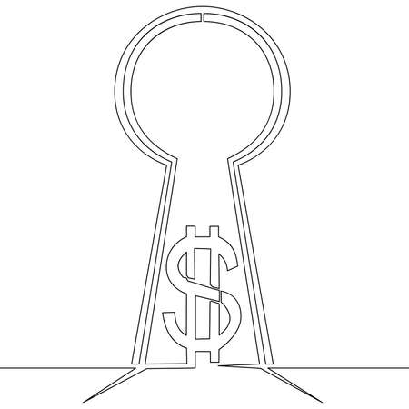 Continuous one single line drawing money in keyhole dollar icon vector illustration concept Ilustração
