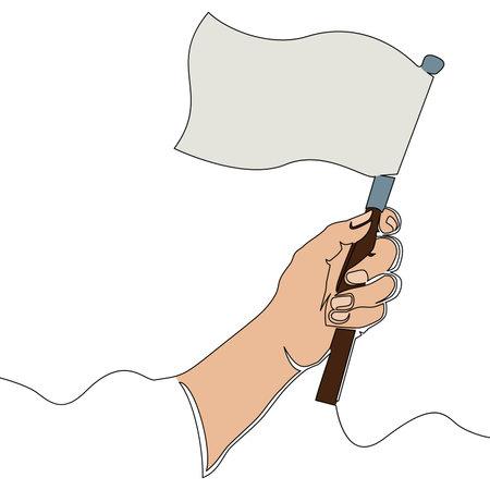 Flat colorful continuous drawing line art Achievement hand holding flag icon vector illustration concept Ilustração