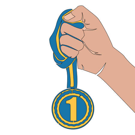 Flat colorful continuous drawing line art Reward medal in hand icon vector illustration concept