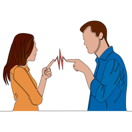 Flat colorful continuous drawing line art Couple man and woman characters quarrel icon vector illustration concept