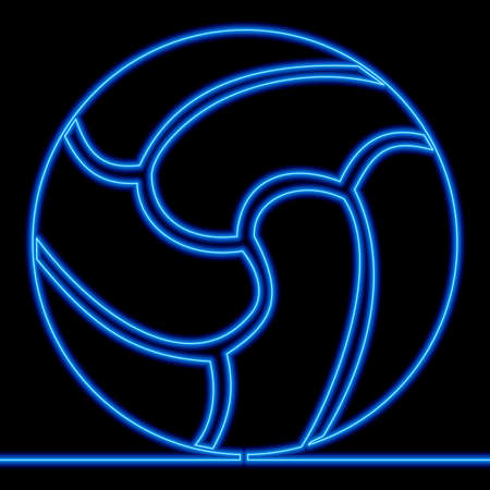 Continuous one single line drawing Soccer ball rugby icon neon glow vector illustration concept