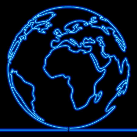 Continuous one single line drawing planet earth icon neon glow vector illustration concept Ilustração