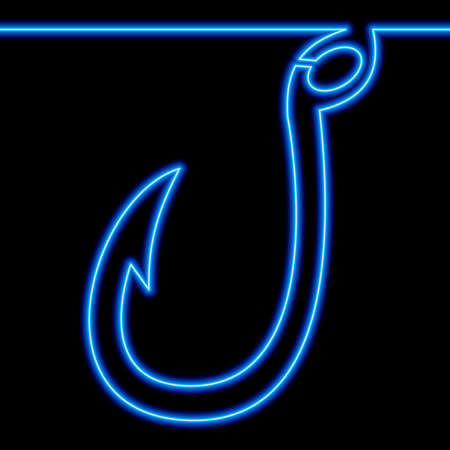 Continuous one single line drawing Fishing hook icon neon glow vector illustration concept