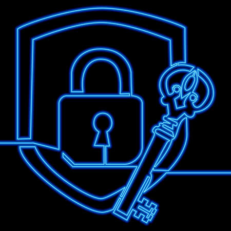 Continuous one single line drawing Defensive system key and lock icon neon glow vector illustration concept Ilustração