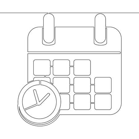 Continuous one single line drawing office clock with calendar planner icon vector illustration concept Ilustração