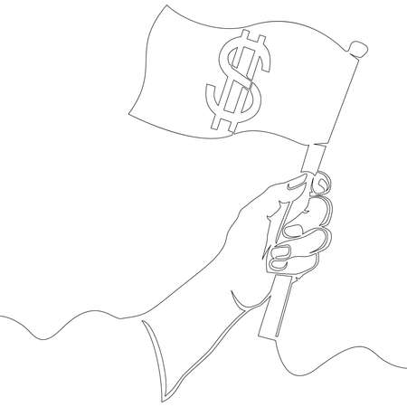 Continuous one single line drawing hand holding a flag with dollar icon vector illustration concept