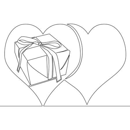 Continuous one single line drawing Valentines day gift box in the heart icon vector illustration concept