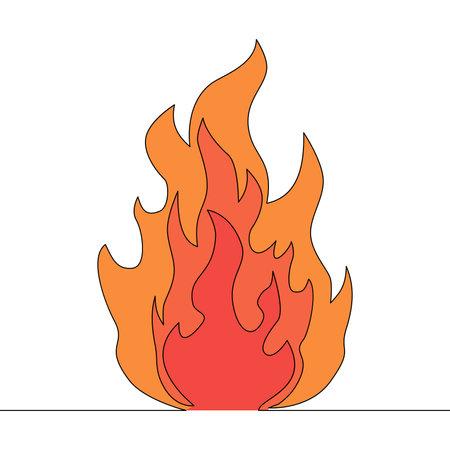 Flat colorful continuous drawing line art Fire symbol icon vector illustration concept Ilustração