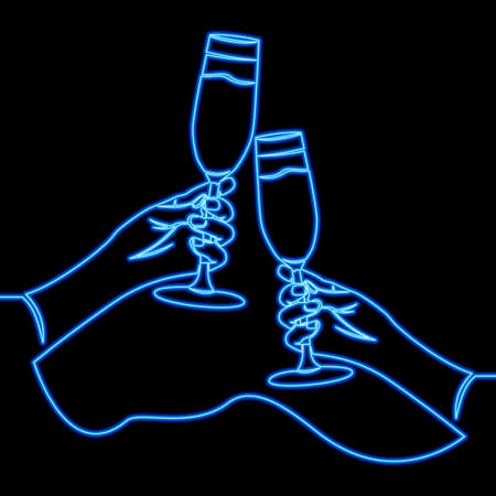 Continuous one single line drawing two hands clinking wine glasses icon neon glow vector illustration concept