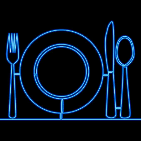 Continuous one single line drawing Plate with fork and knife Restaurant icon neon glow vector illustration concept