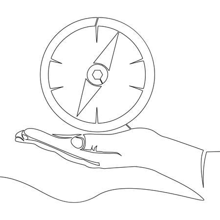 Continuous one single line drawing hand holding compass icon vector illustration concept Ilustração