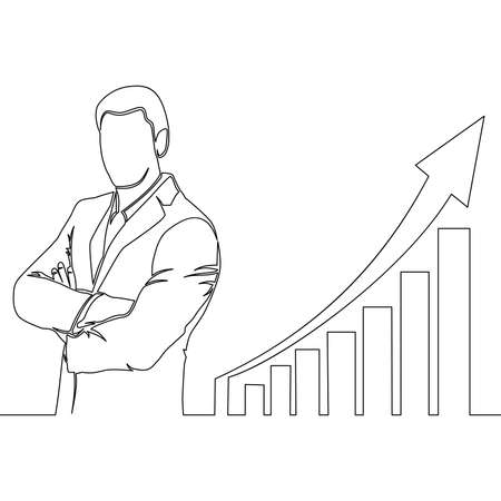 Continuous one single line drawing businessman standing at growing graph presentation icon vector illustration concept