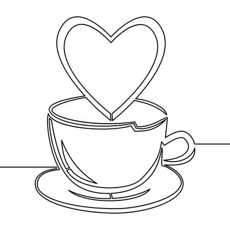 Continuous one single line drawing Coffee or tea cup with heart icon vector illustration concept