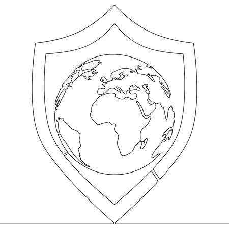 Continuous one single line drawing world planet with protection security shield icon vector illustration concept