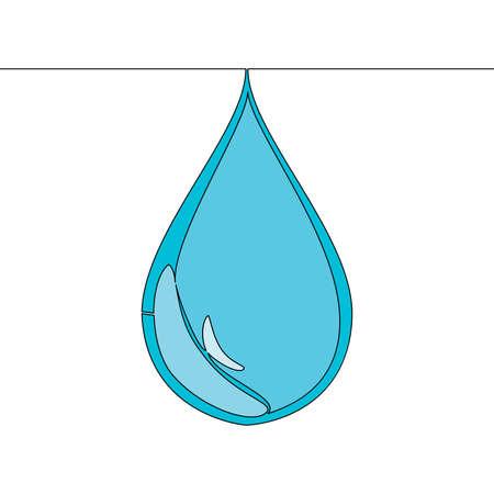 Flat colorful continuous drawing line art Water drop icon vector illustration concept Ilustração