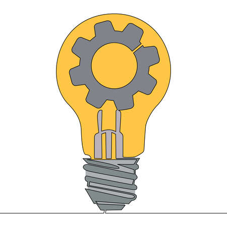 Flat colorful continuous drawing line art Lightbulb and cogwheel inside icon vector illustration concept