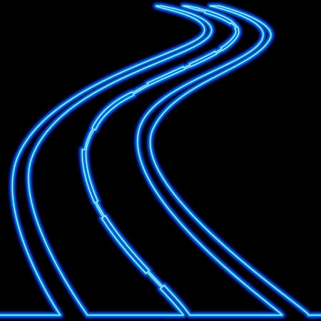 Continuous one single line drawing wave road icon neon glow vector illustration concept Ilustração
