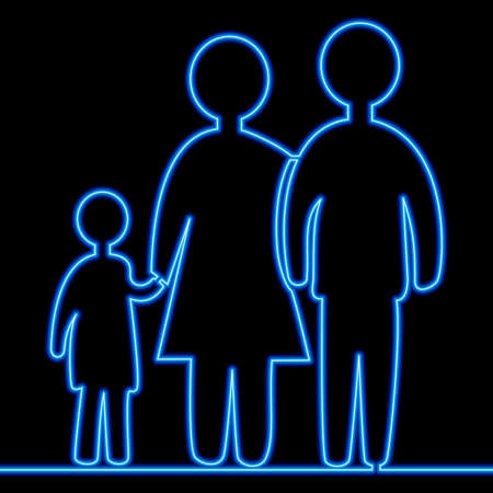 Continuous one single line drawing family icon neon glow vector illustration concept