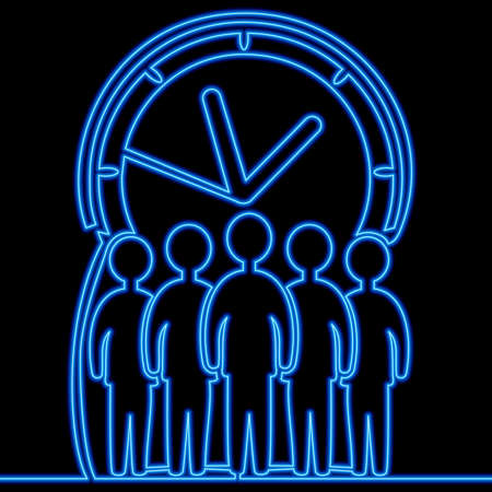 Continuous one single line drawing businessmen crowd and giant clock icon neon glow vector illustration concept