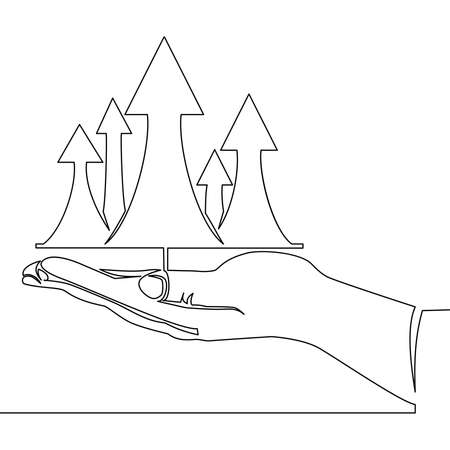 Continuous one single line drawing Hand and profit up arrows icon vector illustration concept