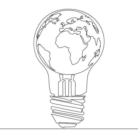 Continuous one single line drawing World map globe inside the lamp icon vector illustration concept