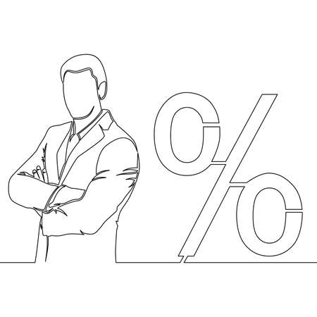 Continuous one single line drawing businessman and interest rate icon vector illustration concept