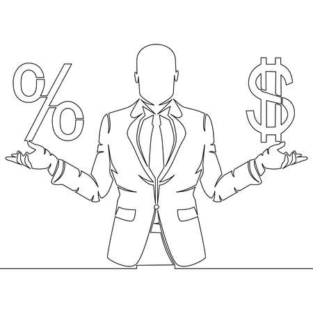 Continuous one single line drawing Businessman holding money and percentage sign icon vector illustration concept
