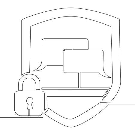 Continuous one single line drawing Lock chat bubble security icon vector illustration concept
