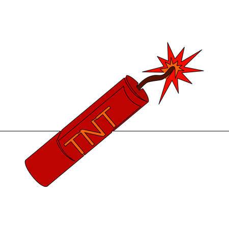 Flat colorful continuous drawing line art Dynamite TNT icon vector illustration concept Ilustração