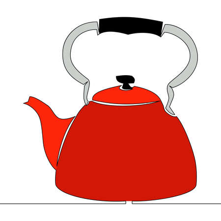 Flat colorful continuous drawing line art Tea pot sign Kettle icon vector illustration concept