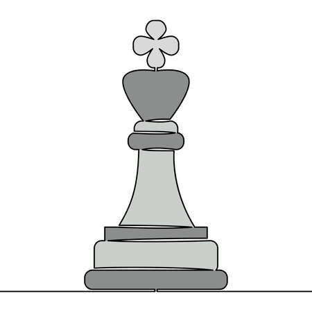 Flat colorful continuous drawing line art Chess pieces king Strategy icon vector illustration concept