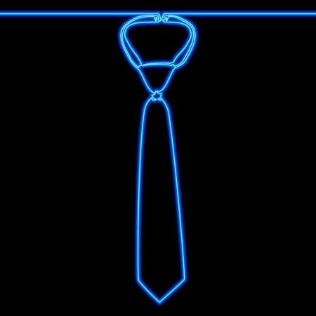 Continuous one single line drawing Necktie icon neon glow vector illustration concept Ilustração