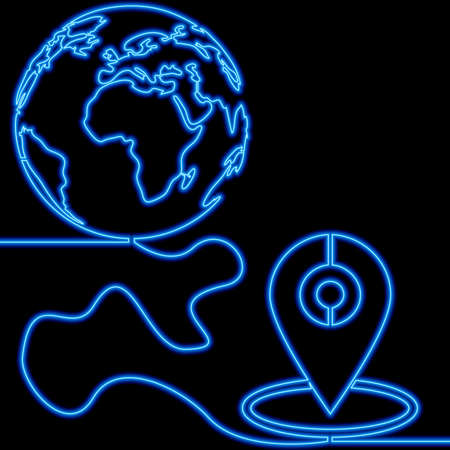 Continuous one single line drawing Location World Travel and tourism destination icon neon glow vector illustration concept Ilustração