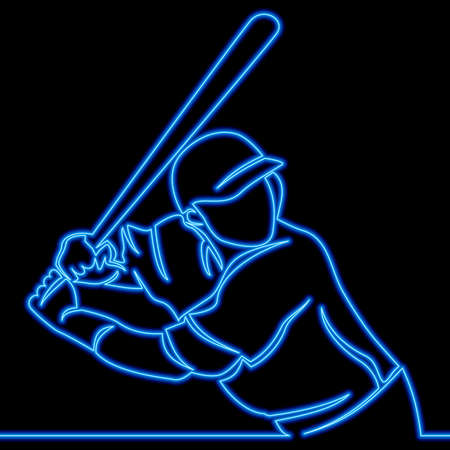 Continuous one single line drawing baseball player batsman icon neon glow vector illustration concept